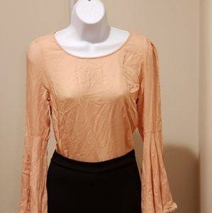 long bell sleeve with round open back